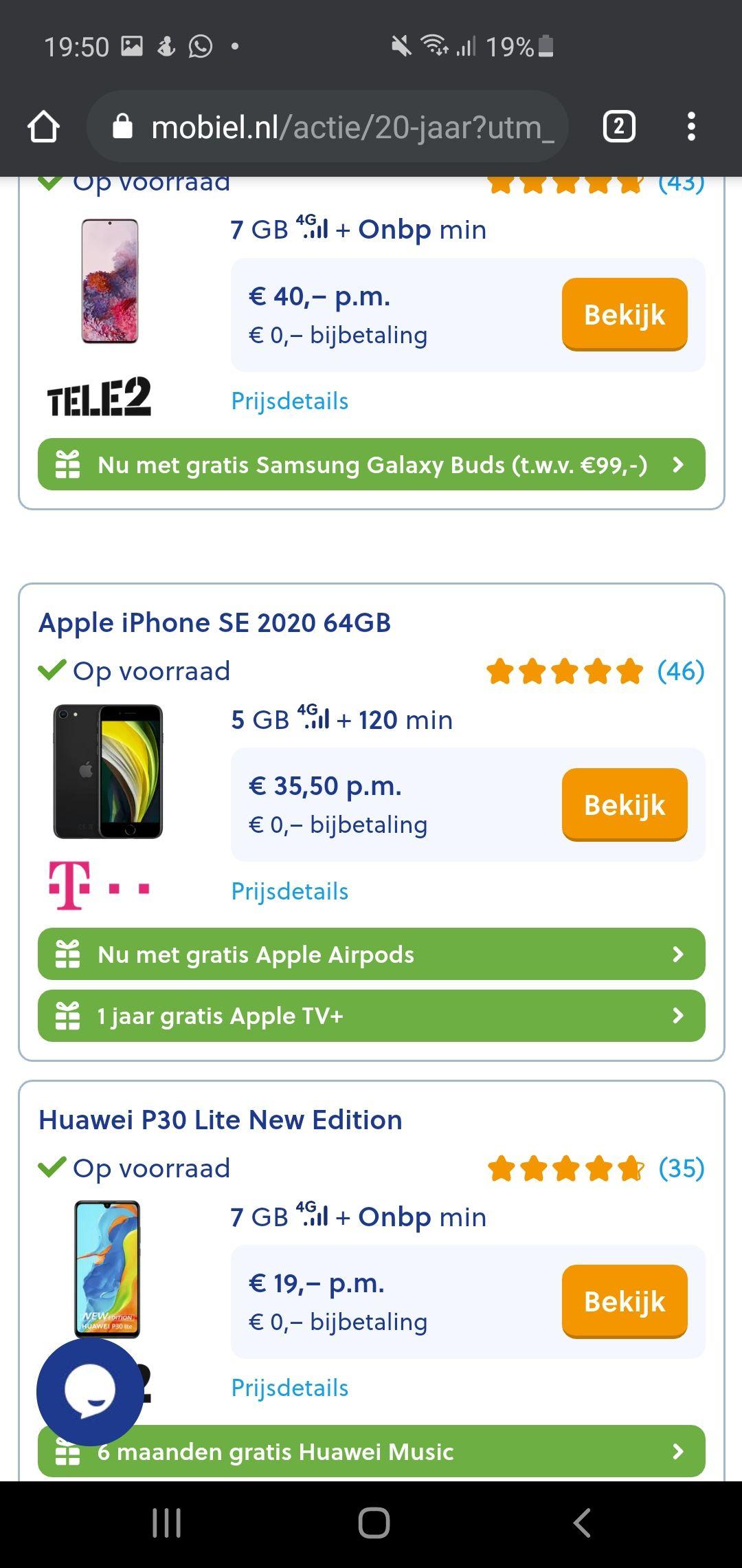 Gratis Airpods bij T-Mobile abonnement met iPhone SE Via Mobiel.nl