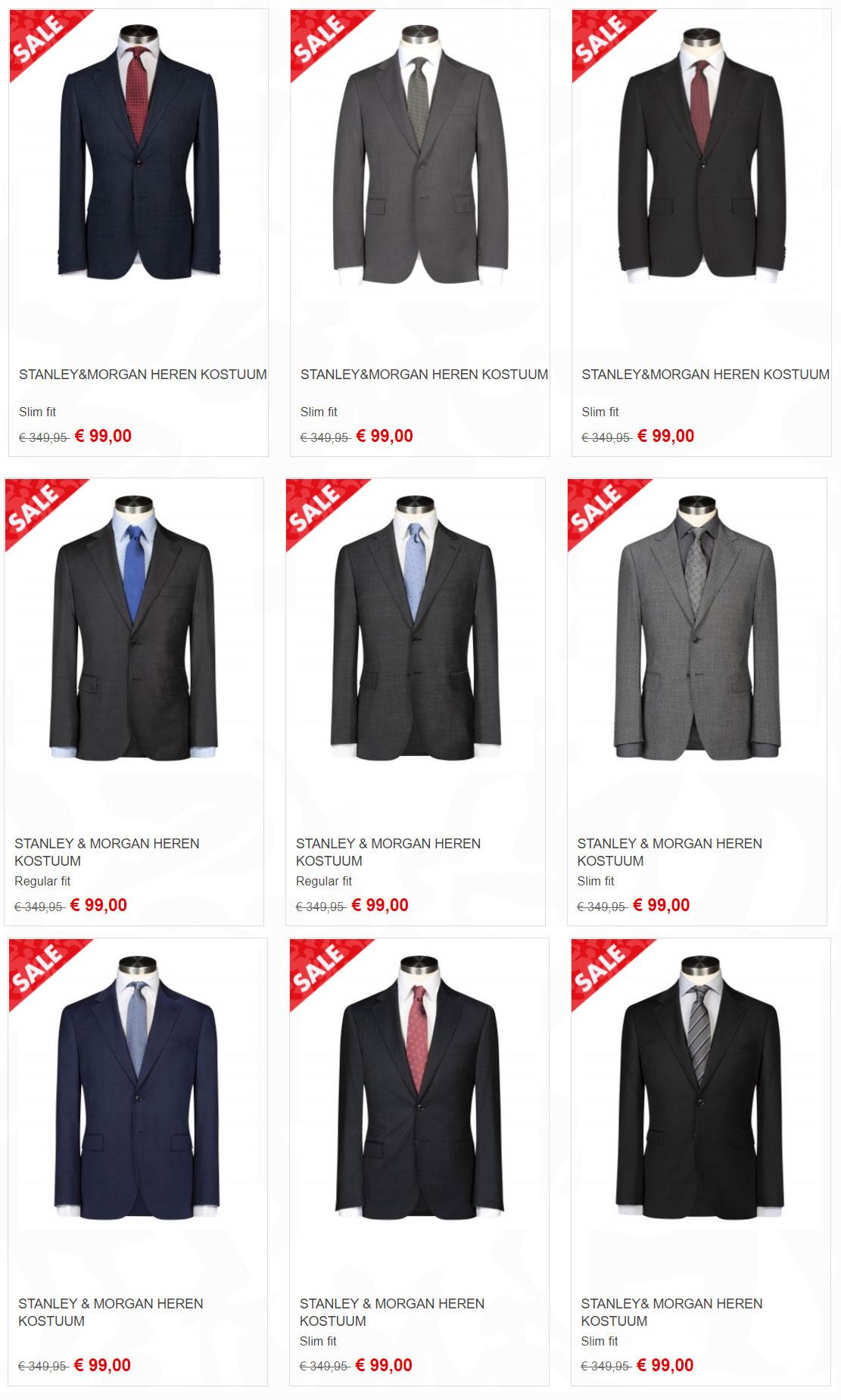 Alle kostuums €99 - 17 soorten - meeste 100% wol @ Piet Zoomers