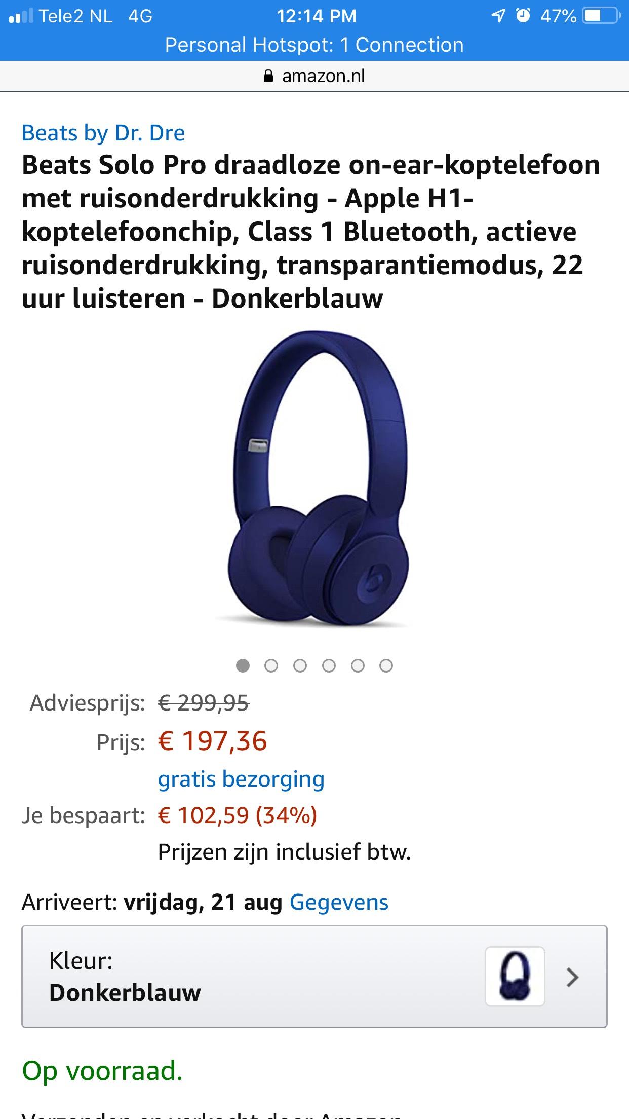 Beats Solo Pro (Blauw) @Amazon