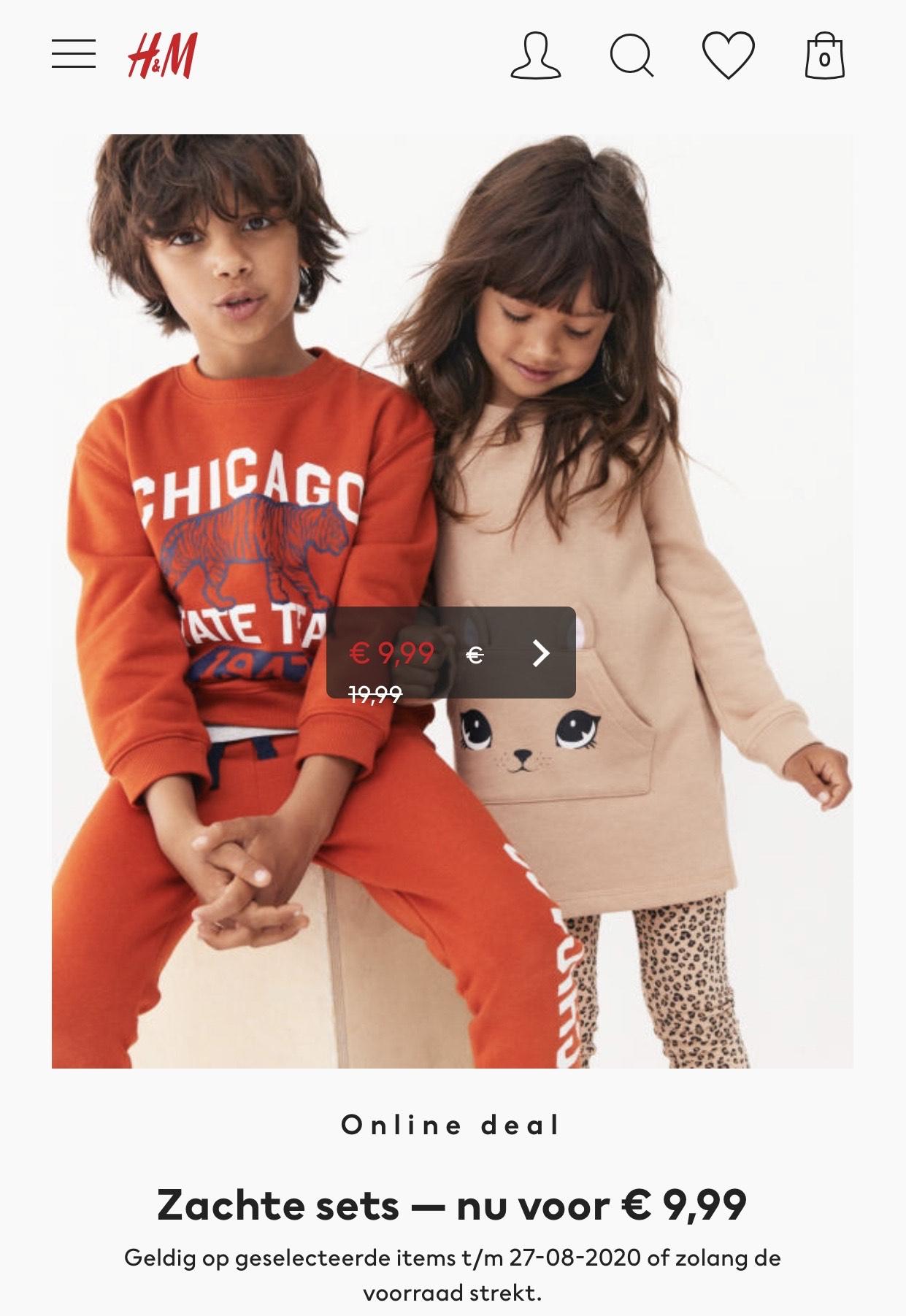 H&M Online deal Zachte sets — nu voor € 9,99