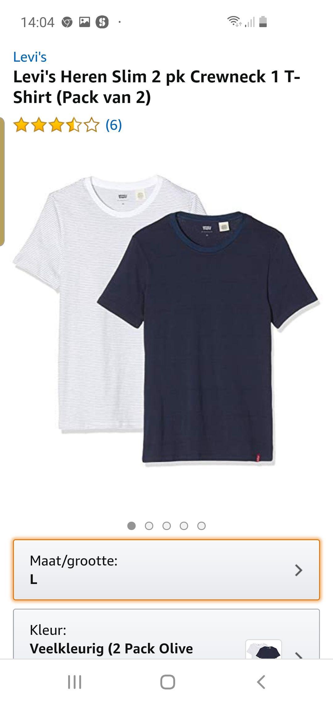 2 pack t shirts levis amazon.nl meerdere maten