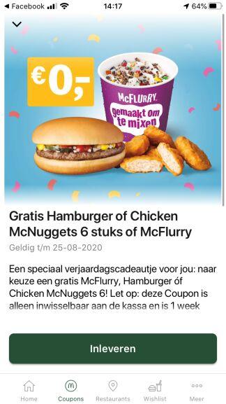 Verjaardagscadeuatje: Gratis Hamburger, 6 Chicken McNuggets of McFlurry