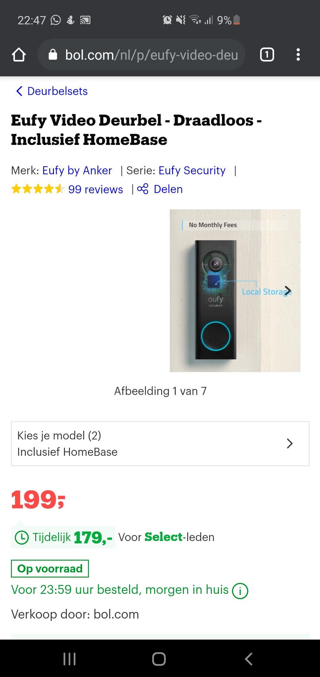 (Select deal Bol.com) Eufy deurbel
