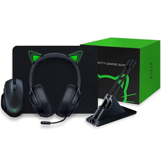 Razer Kitty Gaming Bundle met basilisk Essential, Kraken X Lite, Goliathus Mobile Stealth, Mouse Bungee V2 en Kitty Ears