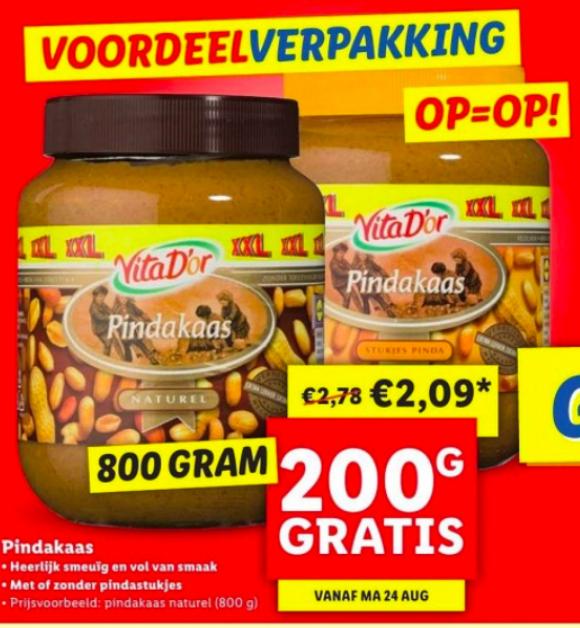 Pindakaas pot 800 gram voor €2,09 (200 gram gratis) @Lidl