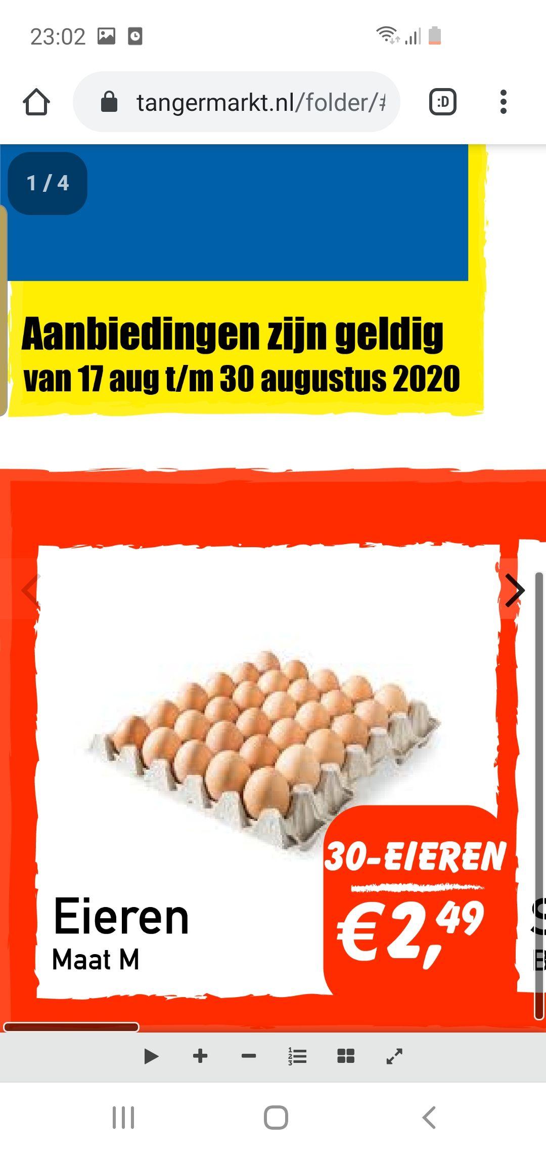 30 eieren maat m €2,49 tanger super markt