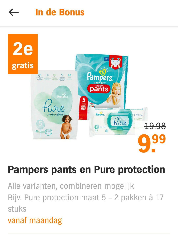 1+ 1 gratis op Pampers pants en Pure protection bij Albert Heijn