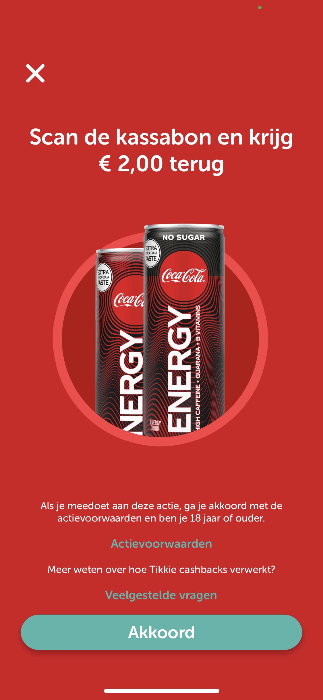 Geld terug met Coca Cola Energy via Tikkie