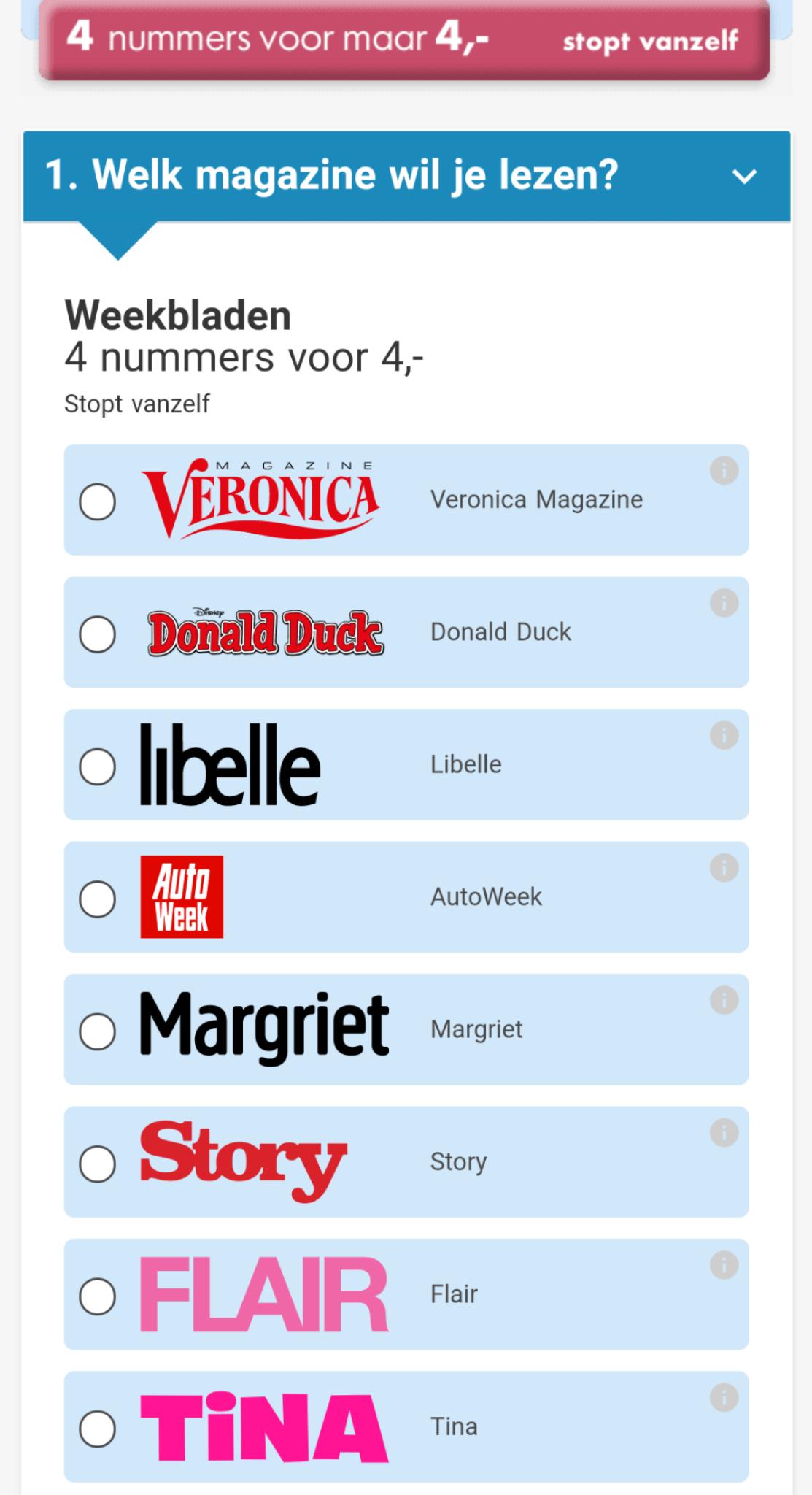Kies je favoriete tijdschrift - 4 nummers voor €4 @ Krant.nl