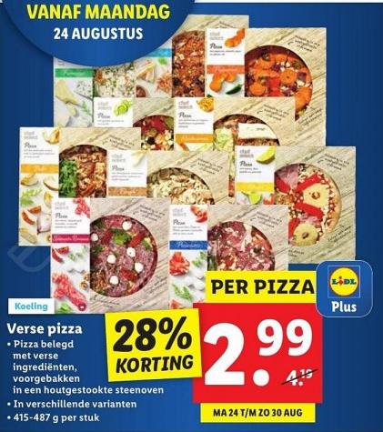 [Vanaf maandag] Verse Pizza voor €2,99 (normaal €4,19) met Lidl Plus App @ Lidl