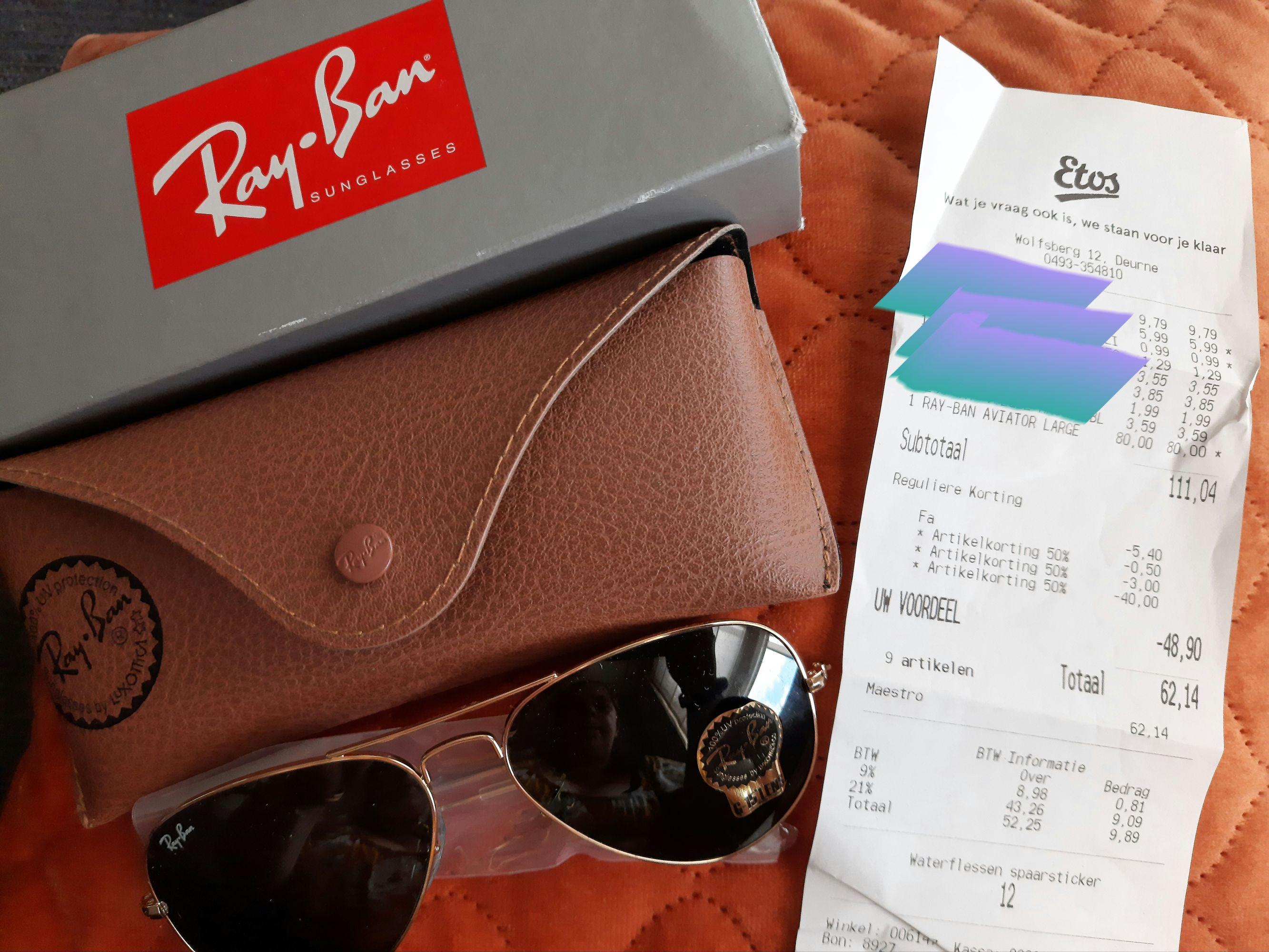 [Lokaal?] Etos- Rayban zonnebrillen Aviator & Wayfarer 50% - 40 euro