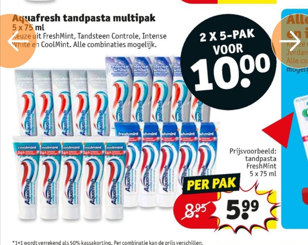 2x 5 pack Aquafresh voor 10 euro @kruidvat
