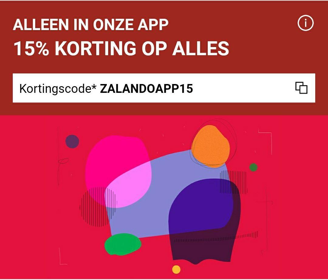 Bij minimale besteding van €80, 15% korting op alles bij Zalando via de app