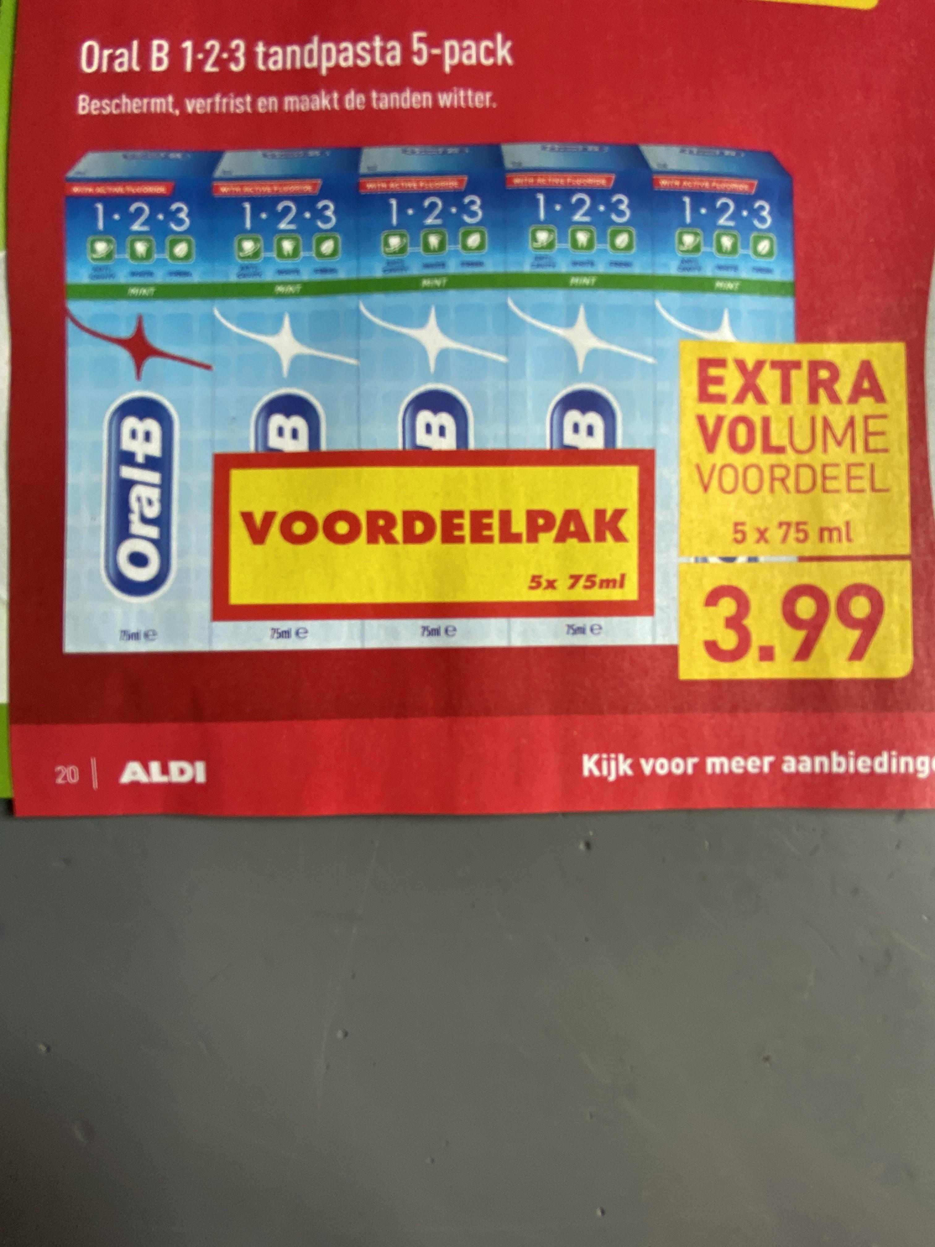 Oral B 1-2-3 tandpasta 5-pack