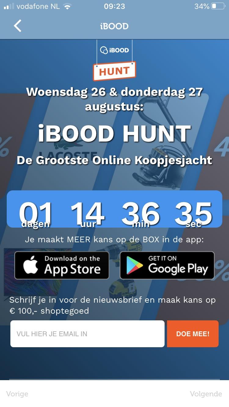 De wel bekende IBOOD Hunt + Flash Sales op woensdag 26 en donderdag 27 augustus