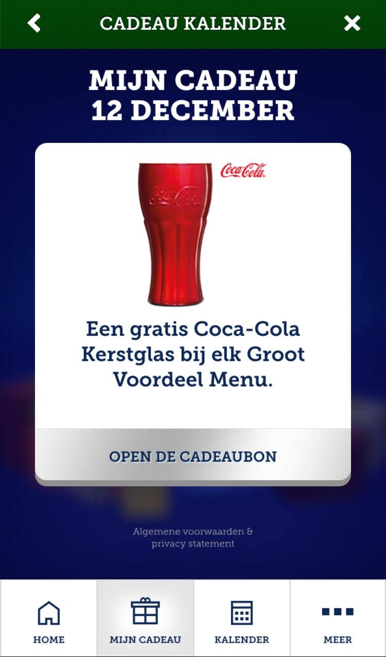 Gratis Coca-Cola Kerstglas bij een groot voordeel menu @ McDonald's