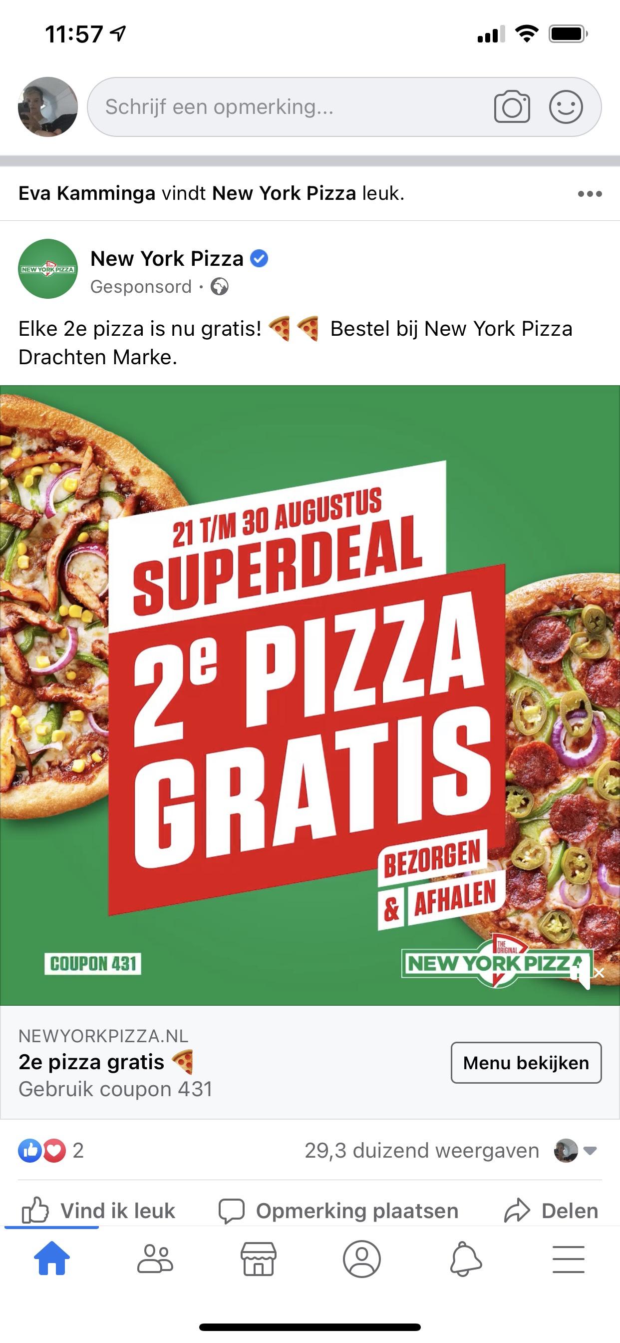 New York pizza 2de pizza gratis [lokaal]