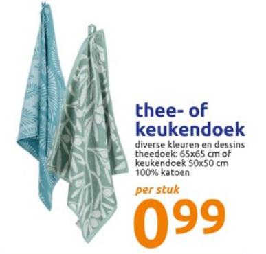 [v.a. woe 26 aug] La Sonata katoenen keukendoek of theedoek voor €0,99 (normaal €1,29/€1,39 p.s.)