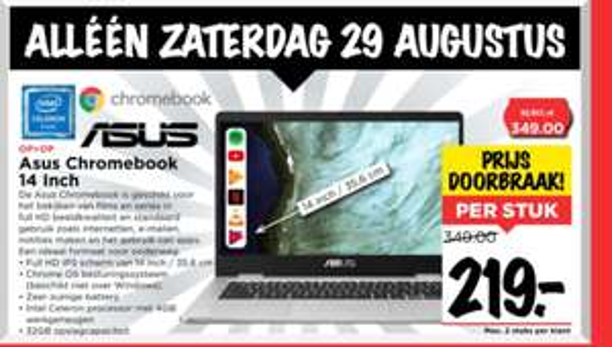 "[Zaterdag] Asus Chromebook 14"" 4GB / 32GB à €219 bij Vomar (zie beschrijving)"