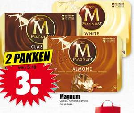2 pakken Magnum ijs voor €3 @  Dirk / Dekamarkt