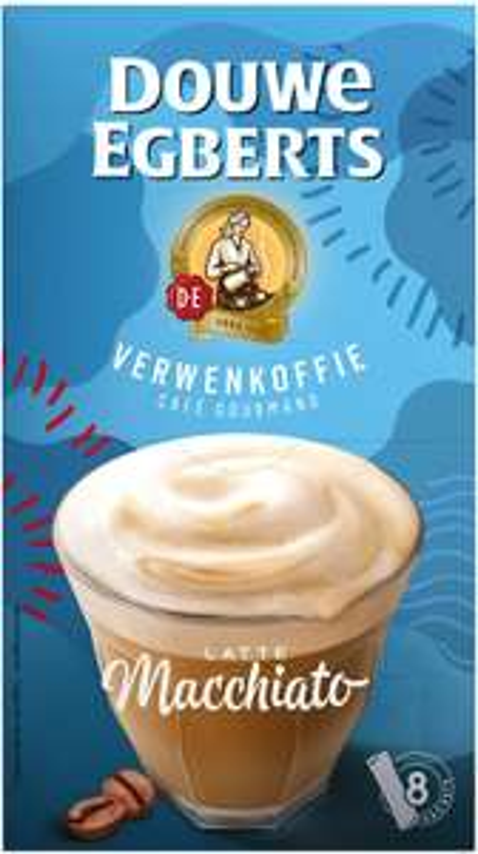 Douwe Egberts Oploskoffie Latte Macchiato (80 Sachets, Instant Koffie), 10 x 8 Zakjes