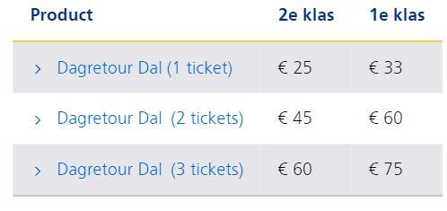 NS Dagretour Dal 1*=€25, 2*=€45 3*=€60