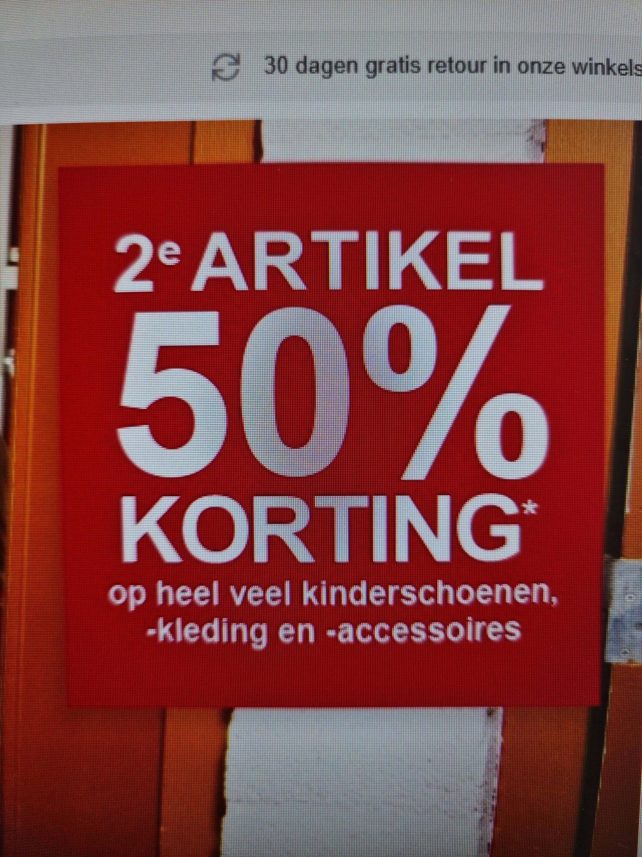 2e halve prijs op heel veel kinderschoenen en kleding bij Scapino