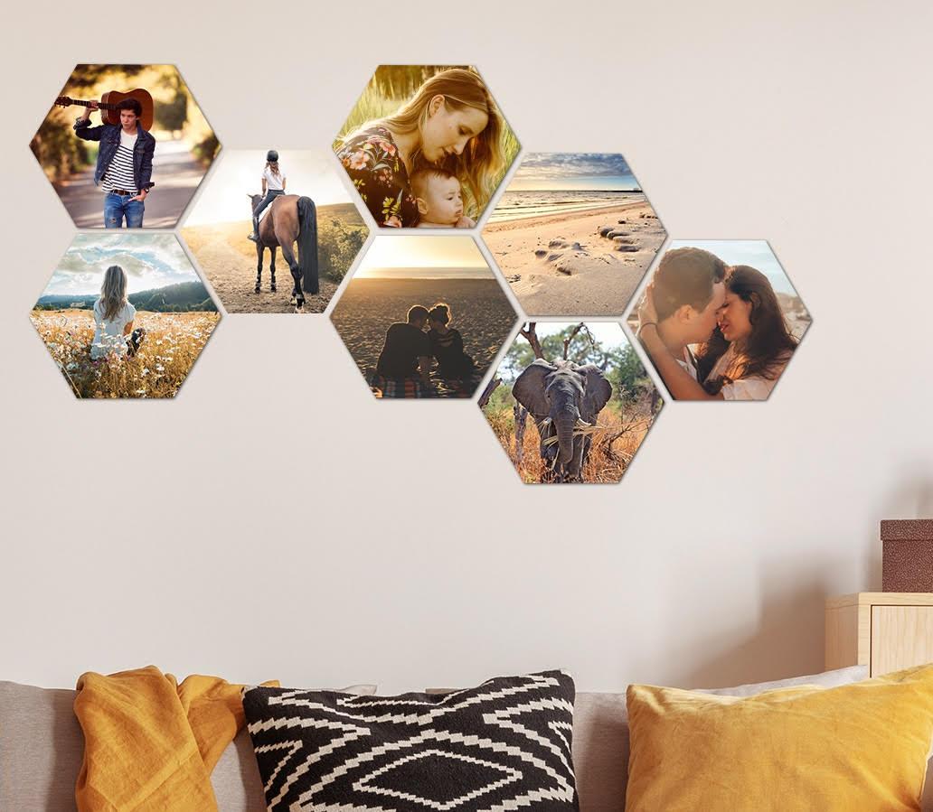 80% korting: Muchopix wanddeco eigen foto (hexagon/square/circle/ruitje) - v.a. €2,79