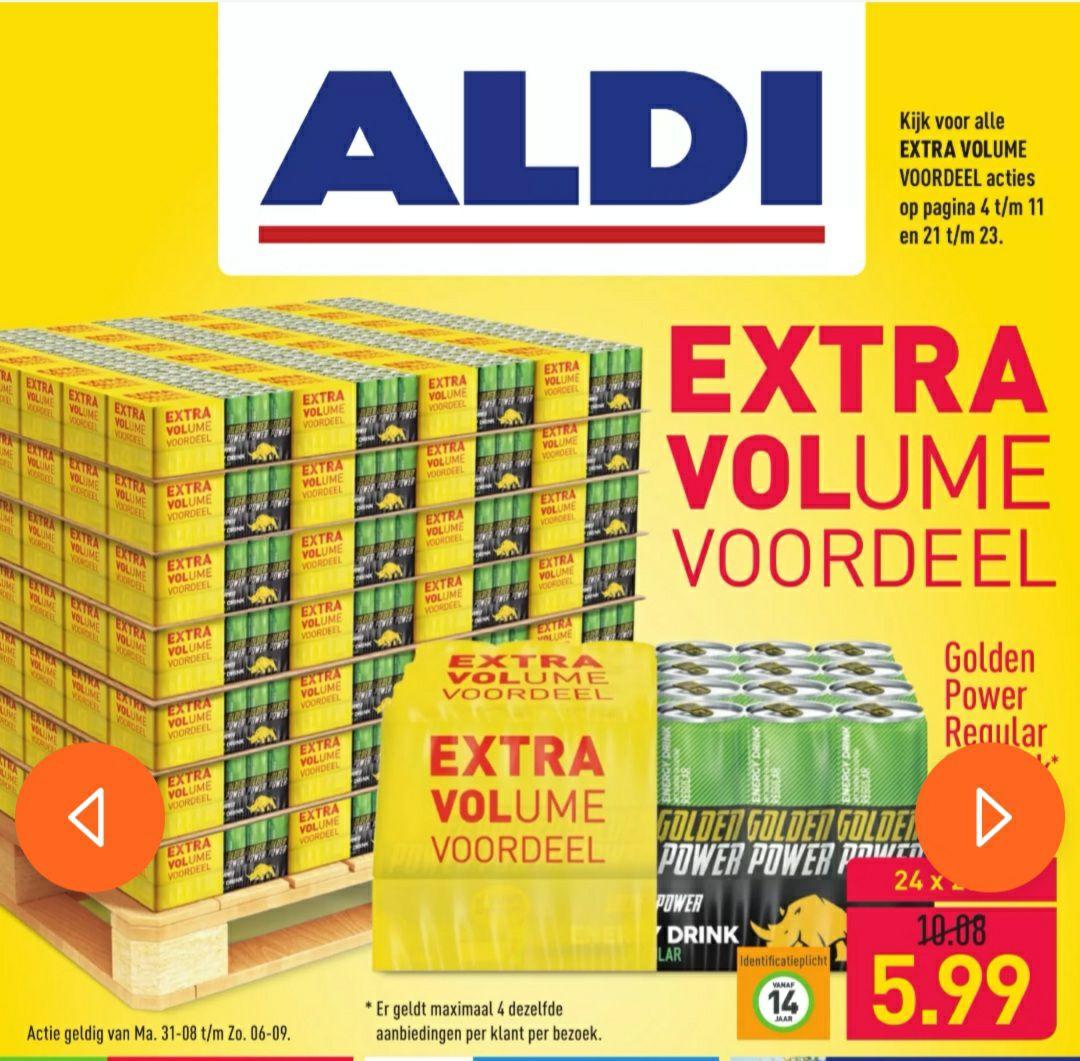 Golden Power energydrink 24 blikjes voor 5.99 (41% korting) @Aldi