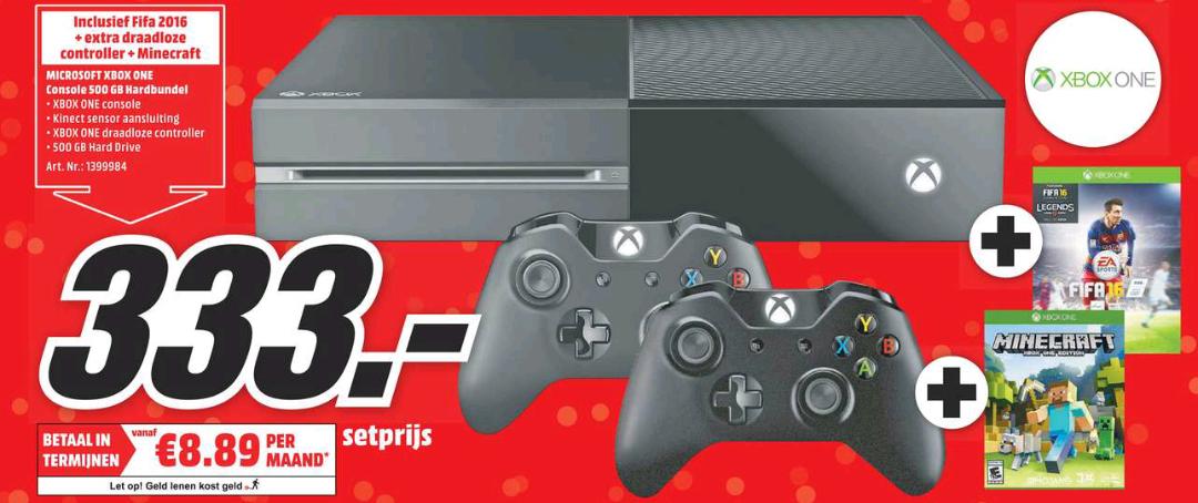 Xbox One 500GB + 2x Controller + FIFA 16 + Minecraft - €333 @ Media Markt