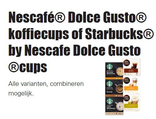 Dolce Gusto koffiecups of Starbucks cups 3 doosjes voor 9 euro @Dirk