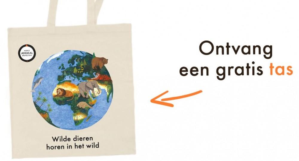 Gratis ''Wilde dieren horen in het wild'' tas bij tekenen van de petitie
