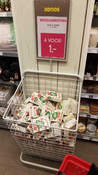 Xenos - Unox bio tomaat cup a soep 4 voor €1 in de winkels