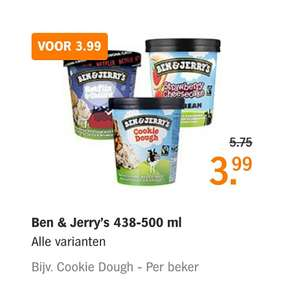 Ben & Jerry's 438 - 500 ml 3,99 bij Albert Heijn