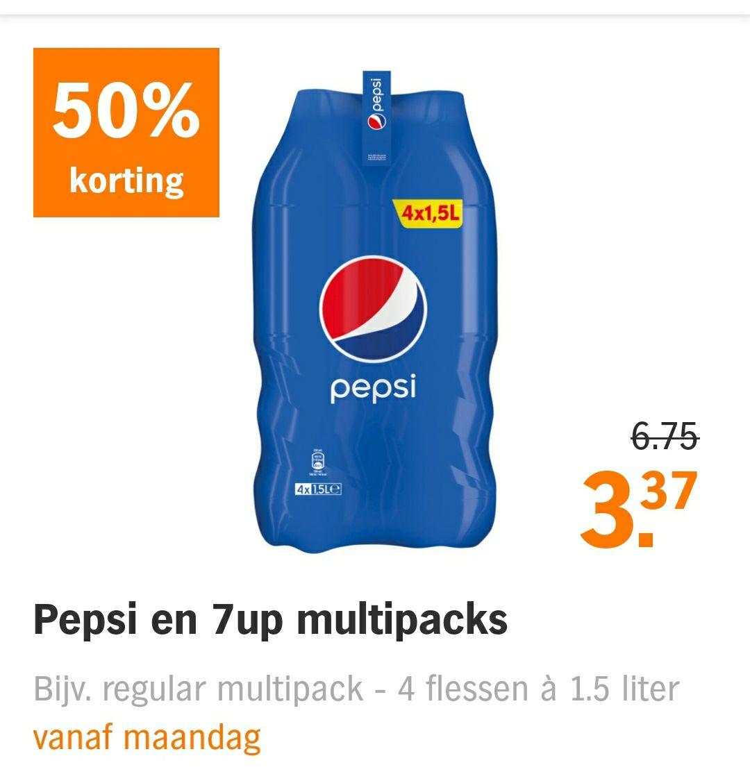Pepsi en 7up voor 3,37 bij Albert Heijn