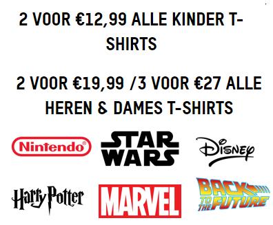 T-shirt bundels v.a. €12,99 per 2 stuks (Harry Potter, Nintendo, Marvel, Disney en meer)