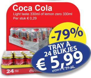 Coca Cola Light of Lemon Zero 24 blikjes á 330ml (€0,75/L) @ Medikamente die Grenze