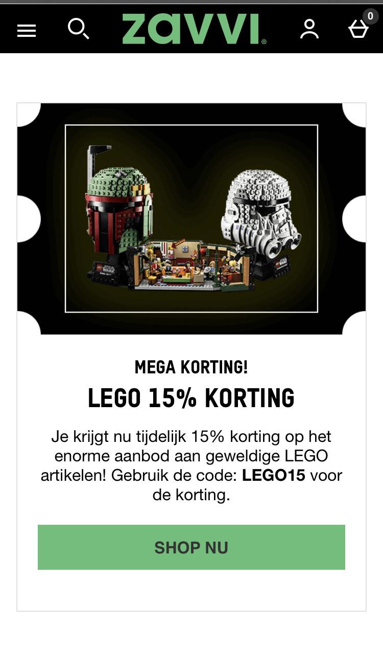 15 % korting op Lego