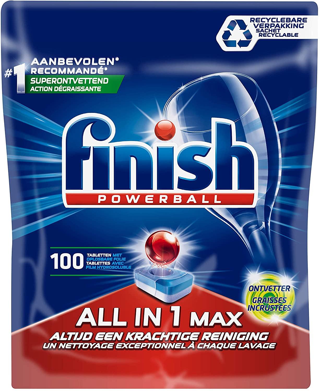 Finish All in 1 Max Grease Fighter, Vaatwastabletten met Powerball - 100 Stuks