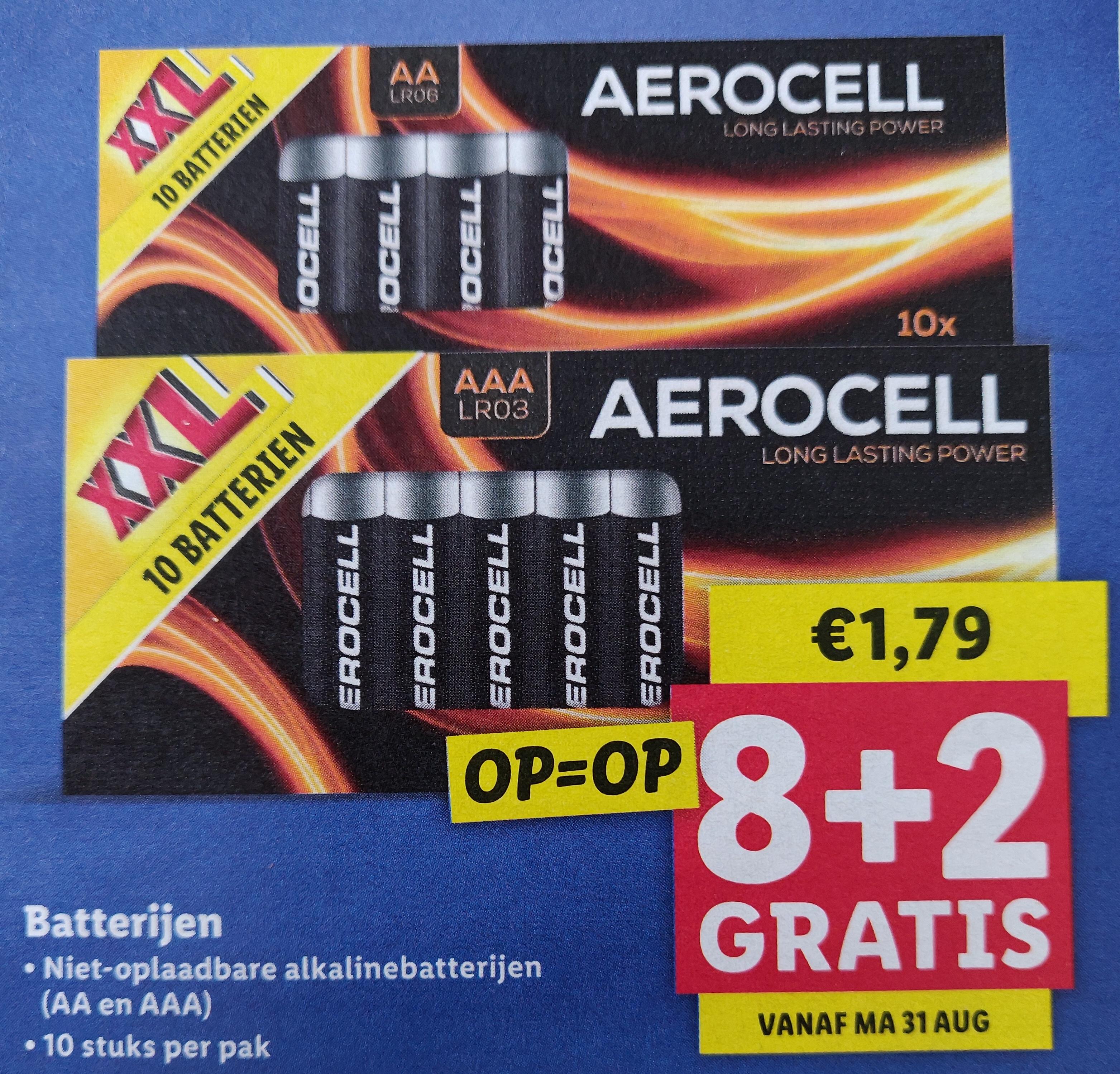 Lidl Aerocell batterijen 8+2 gratis