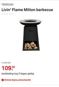 Livin' Flame Milton barbecue / buitenhaard voor €109 (€399 in de folder)