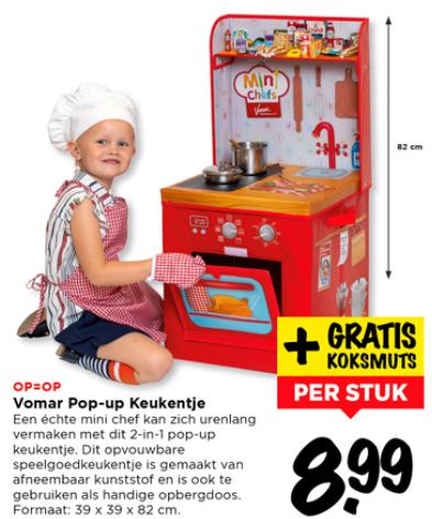 Pop-up keukentje van kunststof + kinder koksmuts à €8,99 bij Vomar