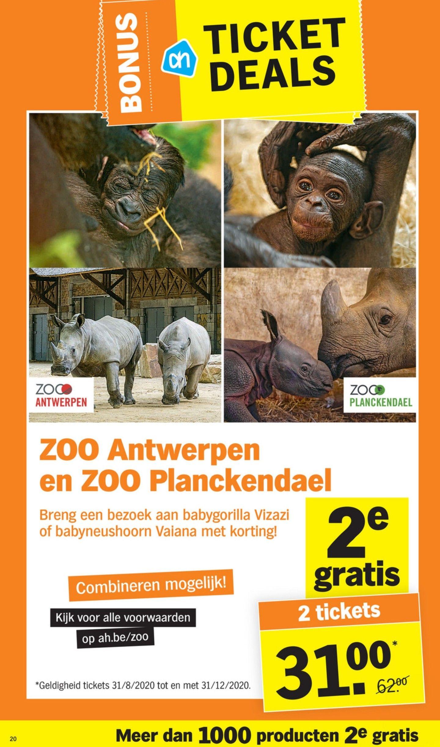 [GRENSDEAL BELGIË] 1+1 gratis op tickets voor ZOO Antwerpen en ZOO Planckendael bij Albert Heijn