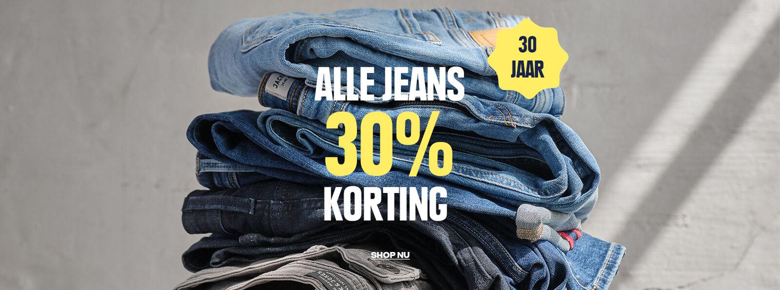 30% korting op alle Jeans