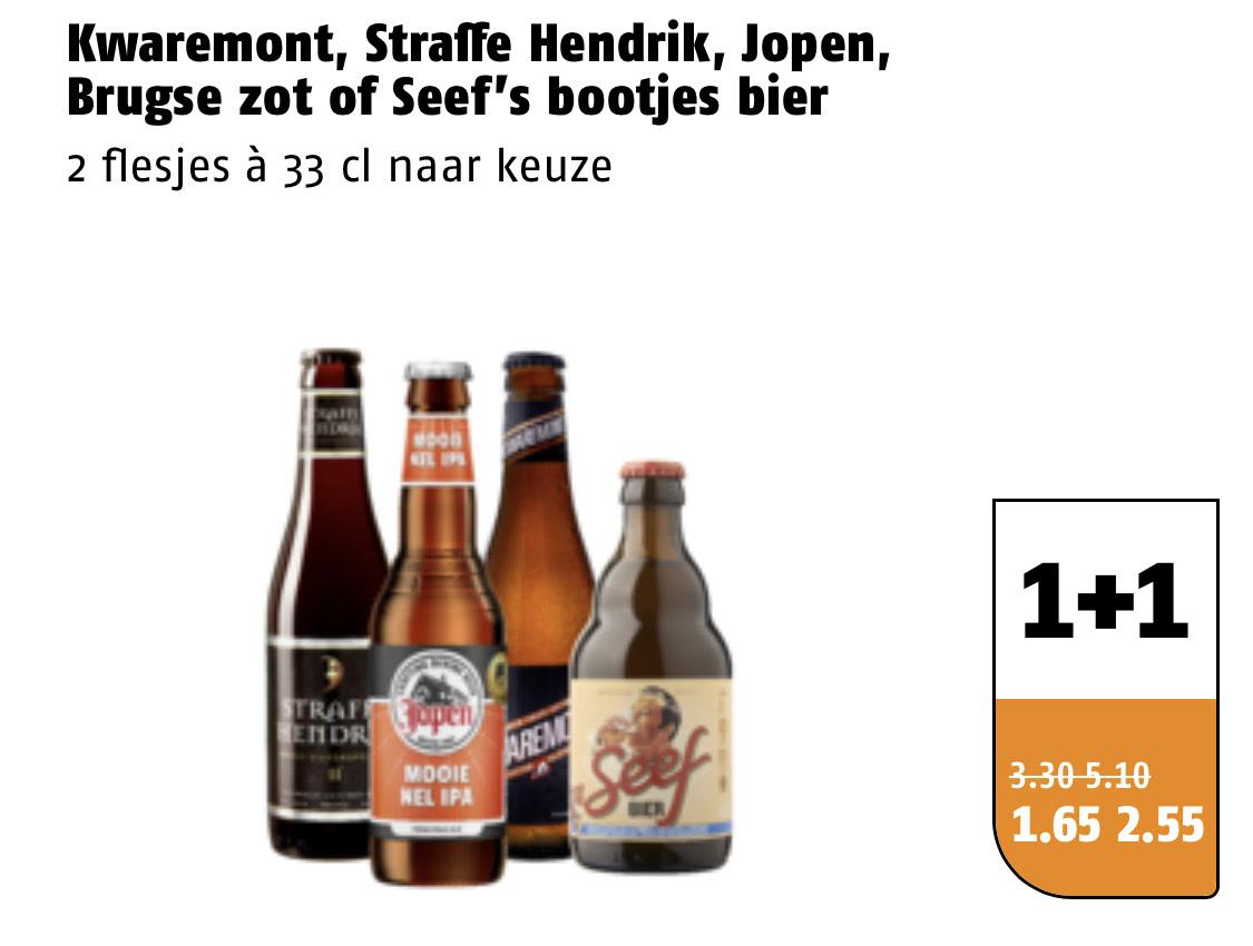 Poiesz 1+1 op Kwaremont, Straffe Hendrik, Jopen, Brugse zot of Seef's bootjes bier