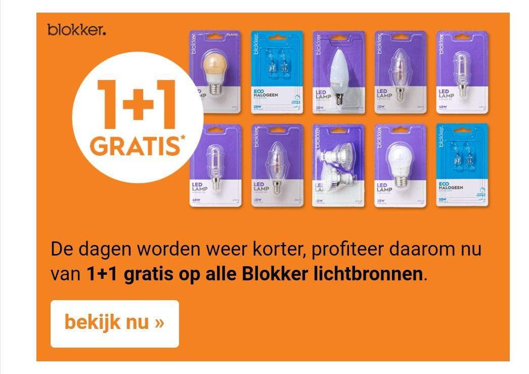 1 + 1 gratis op alle huismerk lichtbronnen @ Blokker