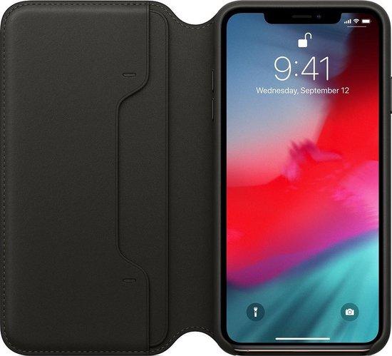 Apple Leren Folio Hoesje voor iPhone Xs Max - Zwart