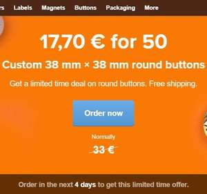 50 custom made buttons for €17,70 Stickermule