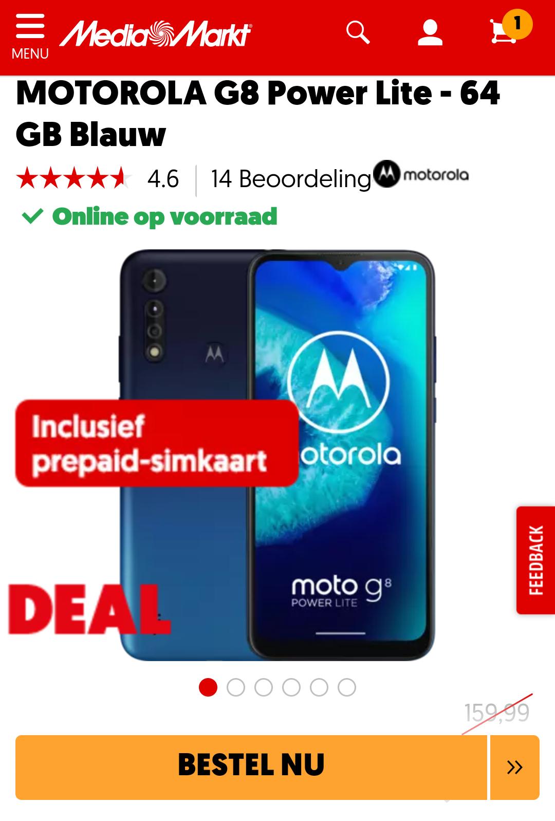 Motorola G8 Power Lite 4/64GB Blauw (na nieuwsbrief + cashback) @ MediaMarkt