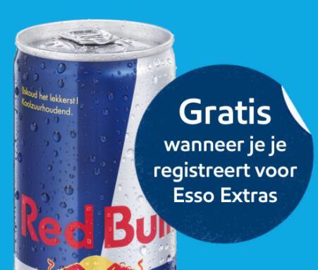 Gratis blikje Red Bull Original 250ml bij registreren voor Esso Extras